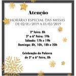 Horário especial de Missas